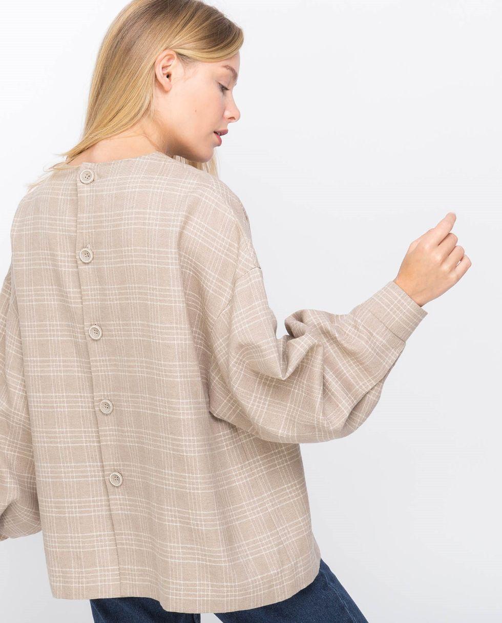12Storeez Блуза с объемными рукавами (бежевая) блуза
