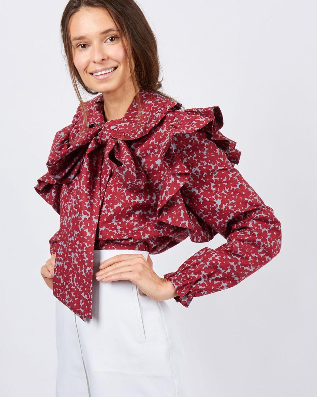 Блуза с оборкой (бордовая)