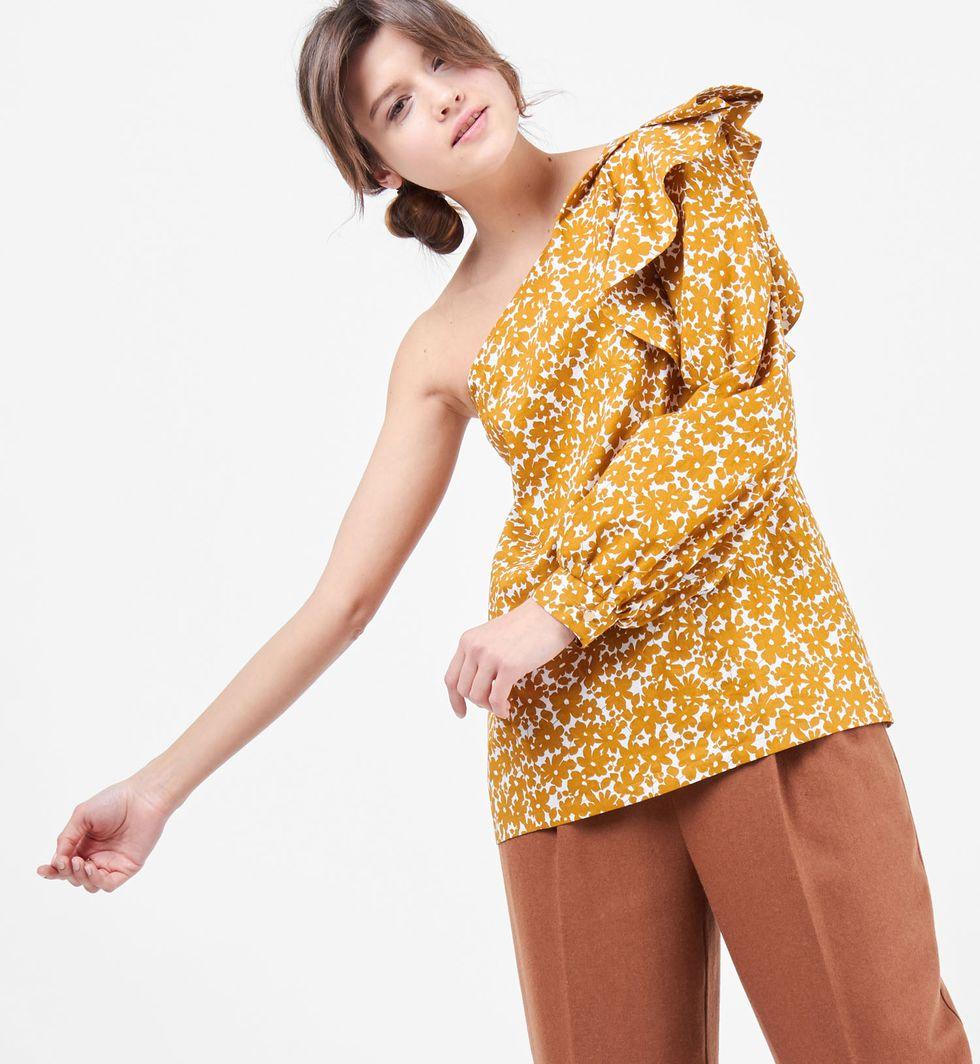 Блуза на одно плечо XSтопы и блузы<br><br><br>Артикул: 8287821<br>Размер: XS<br>Цвет: Горчичный<br>Новинка: НЕТ<br>Наименование en: One shoulder blouse