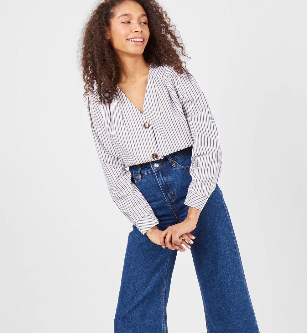 Блуза со складками в полоску