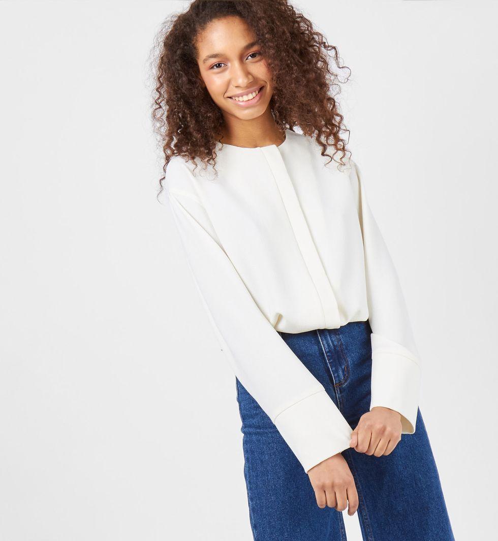 Блуза с манжетами SТопы и блузы<br><br><br>Артикул: 8288026<br>Размер: S<br>Цвет: Молочный<br>Новинка: НЕТ<br>Наименование en: Long sleeve cuffed blouse