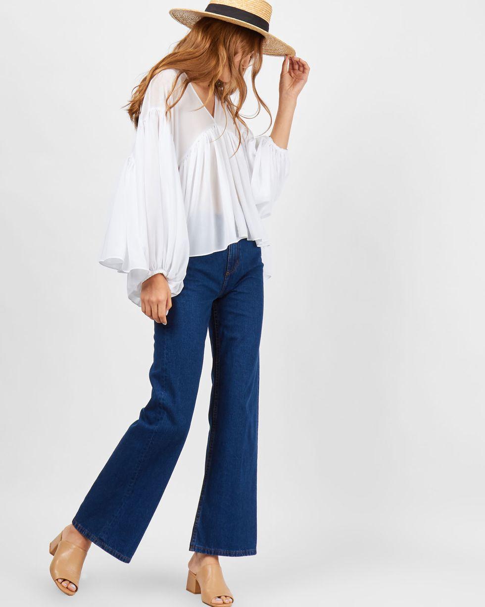 12Storeez Блуза объемная из шифона (белая) блуза apart блузы свободного покроя