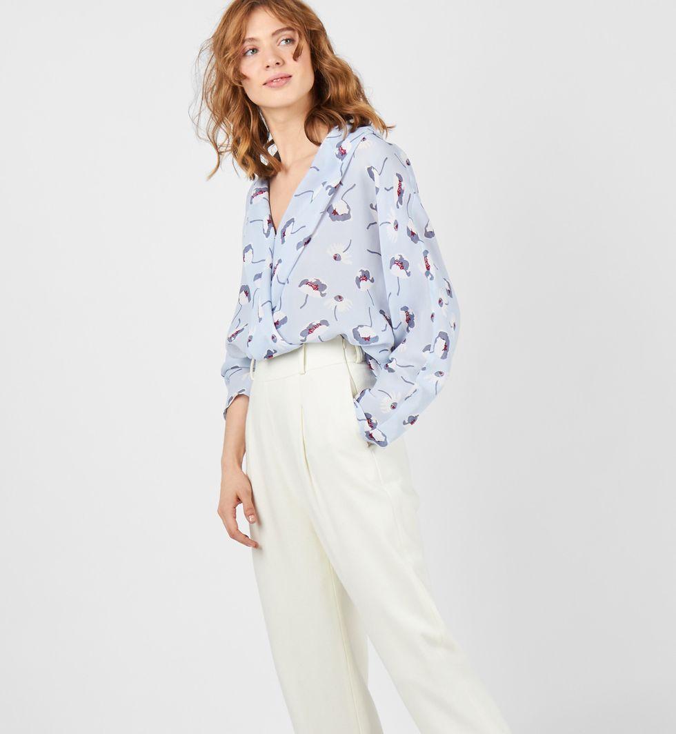 12Storeez Блуза с запахом (голубая) блуза jennyfer jennyfer je008ewwme30