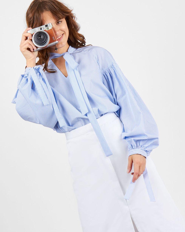 Блуза с объемными рукавами в клетку (белый)