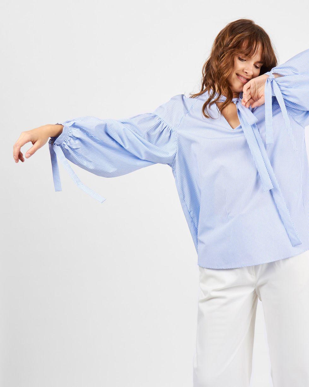 12Storeez Блуза с объемными рукавами в клетку (белый) 12storeez блуза с бантом в горох черная