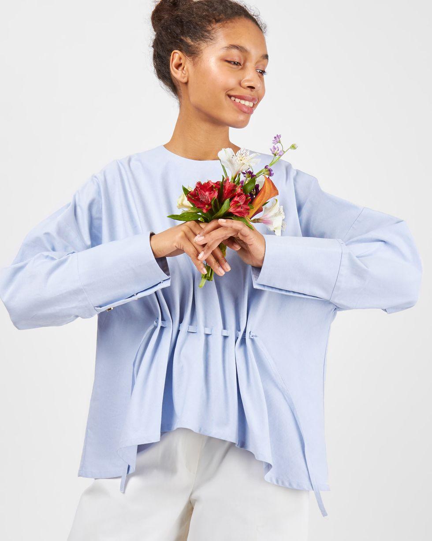 12Storeez Блуза на кулисе (голубая) 12storeez блуза объемная на завязках бежевый