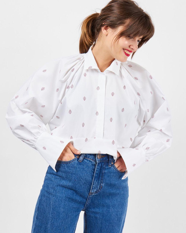 12Storeez Блуза с объемными рукавами на стойке (белый) 12storeez блуза с бантом в горох черная