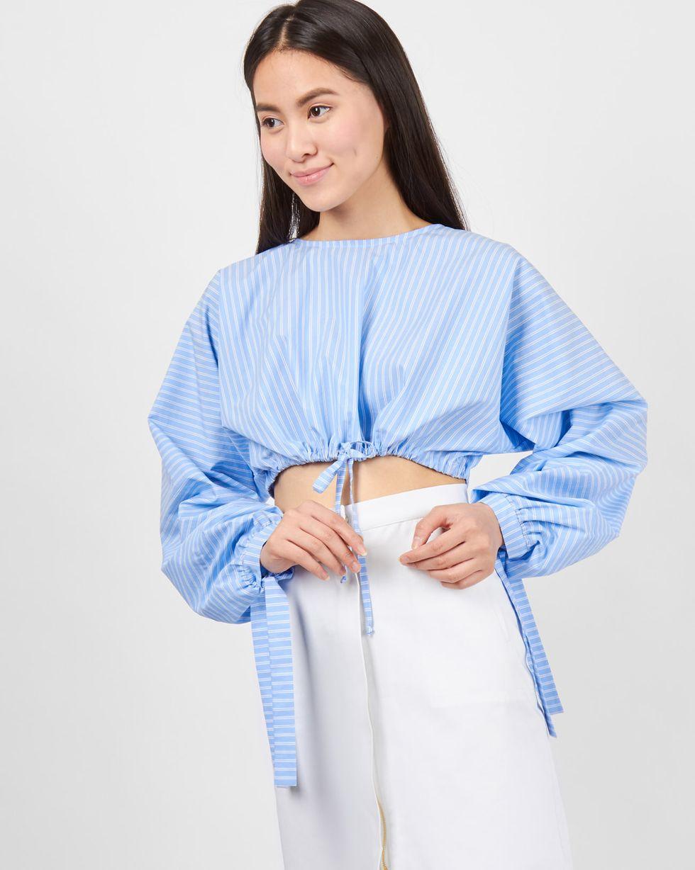 12Storeez Блуза укороченная на завязках (голубая) mannon женские блузы на лето