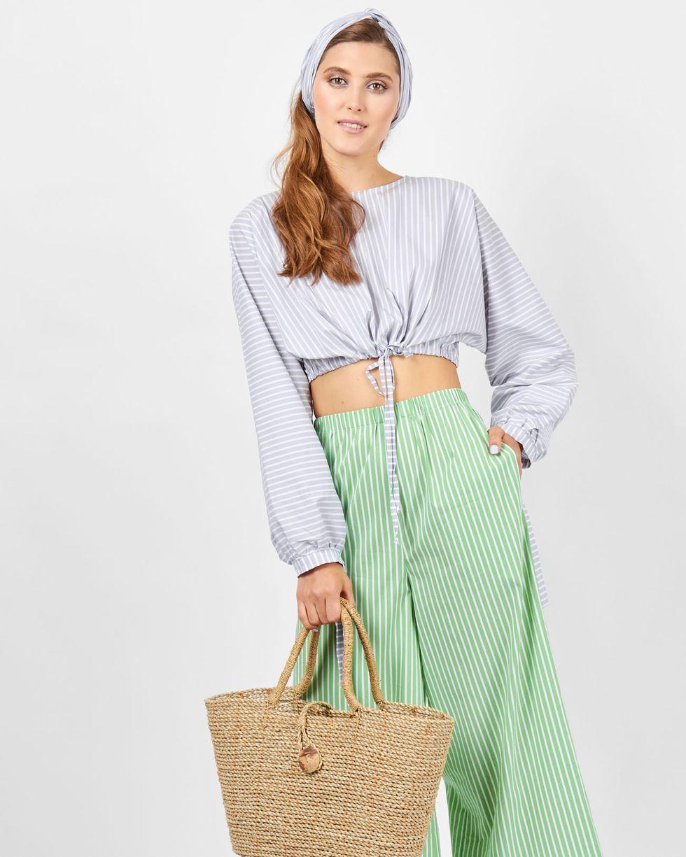 12Storeez Блуза укороченная на завязках (серый) 12storeez блуза объемная на завязках бежевый