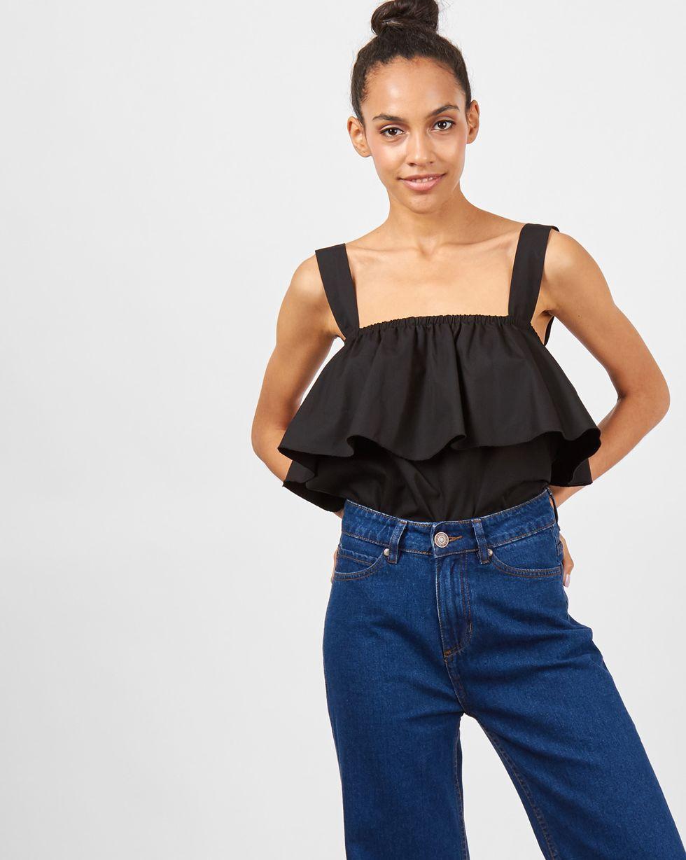 Блуза с воланом и широкими бретелями Mтопы и блузы<br><br><br>Артикул: 8289521<br>Размер: M<br>Цвет: Черный<br>Новинка: ДА<br>Наименование en: Wide strap blouse with frills