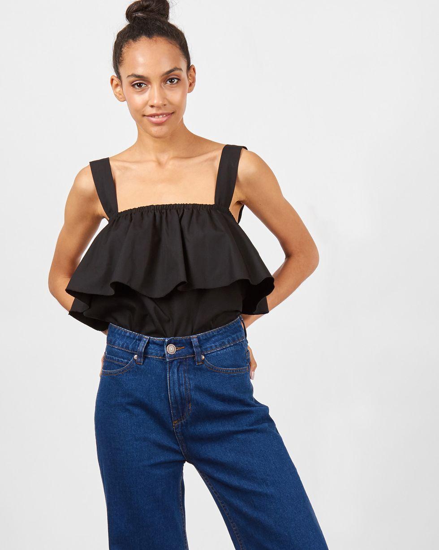12Storeez Блуза с воланом и широкими бретелями (черный) блуза incity цвет черный белый