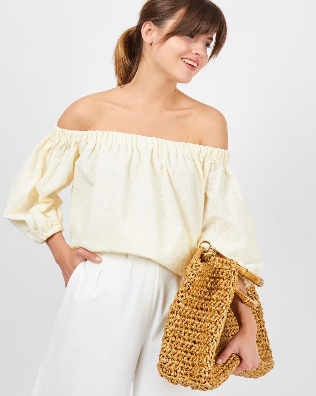 12Storeez Блуза с рукавами фонарик из шитья (светло-бежевый) 12storeez блуза с бантом в горох черная