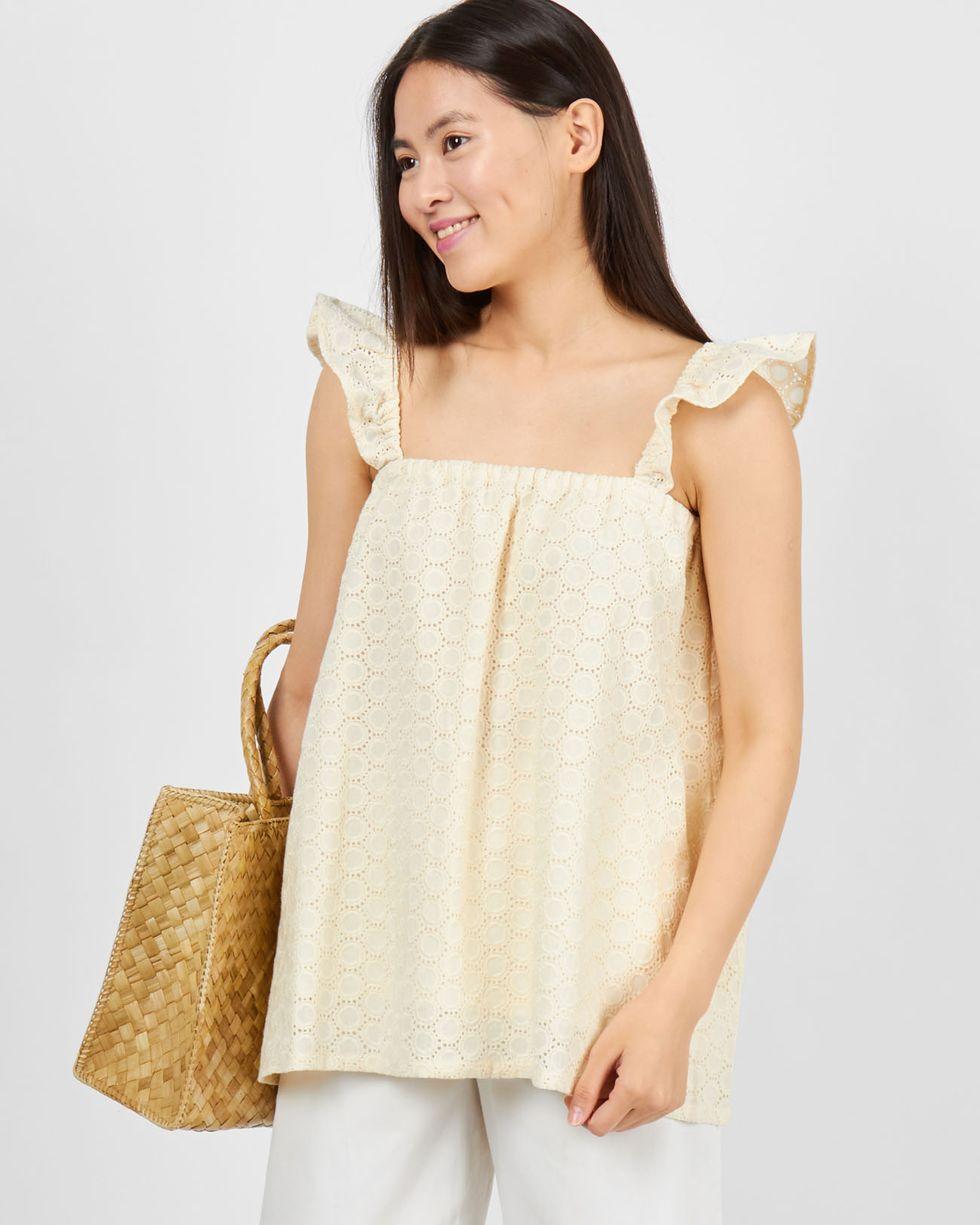 12Storeez Топ из шитья с бретелями крылышки круги (молочный) 12storeez платье сарафан мини с бретелями крылышки в цветок белое