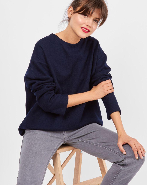 Свитер из плотного трикотажа One sizeТопы и блузы<br><br><br>Артикул: 84410861<br>Размер: One size<br>Цвет: Темно-синий<br>Новинка: НЕТ<br>Наименование en: Loose cut sweater