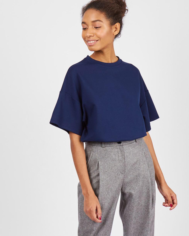 Топ из плотного трикотажа MТопы и блузы<br><br><br>Артикул: 84411528<br>Размер: M<br>Цвет: Темно-синий<br>Новинка: НЕТ<br>Наименование en: Oversized short sleeve t-shirt