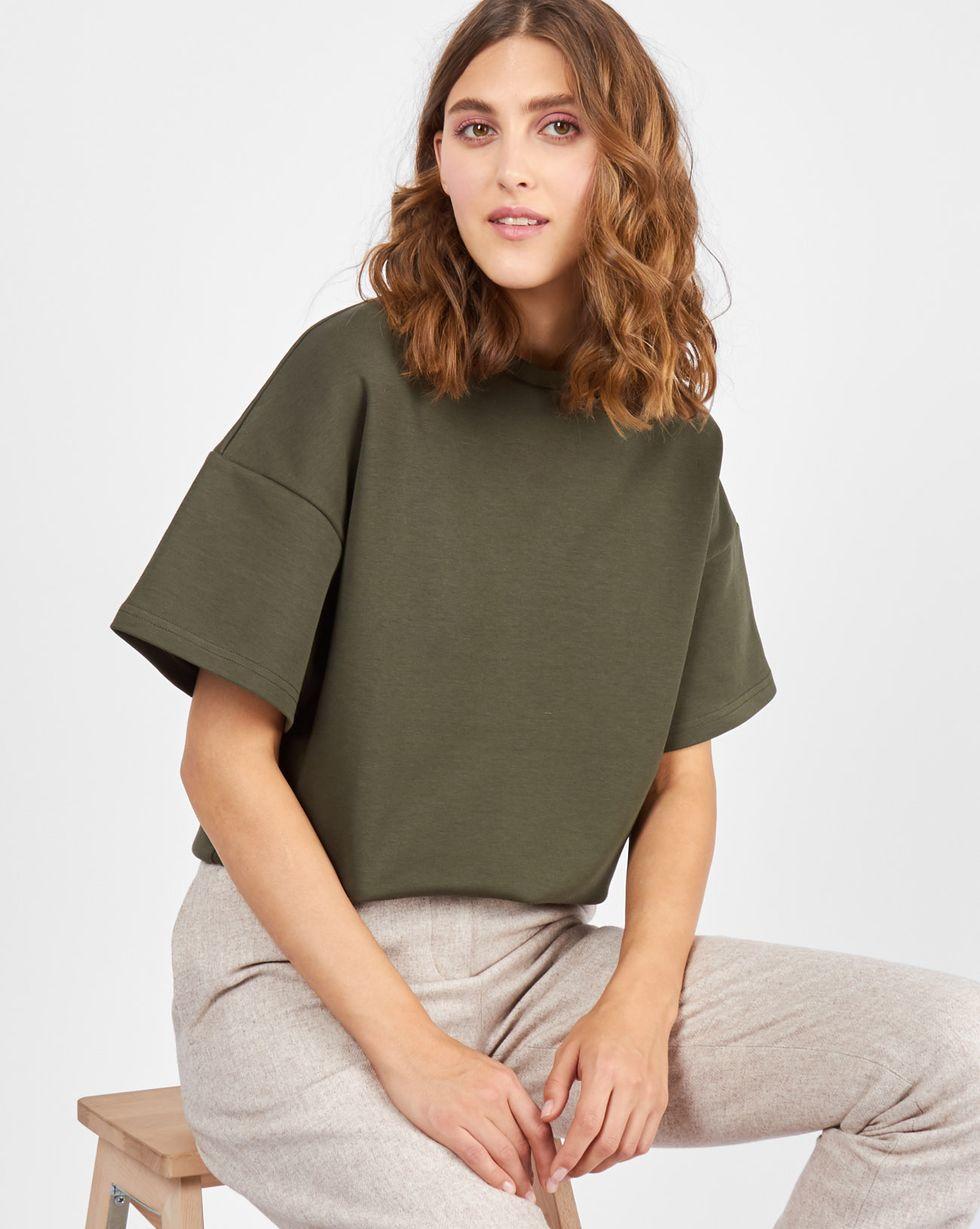 Топ из плотного трикотажа SТопы и блузы<br><br><br>Артикул: 84411531<br>Размер: S<br>Цвет: Хаки<br>Новинка: НЕТ<br>Наименование en: Oversized short sleeve t-shirt