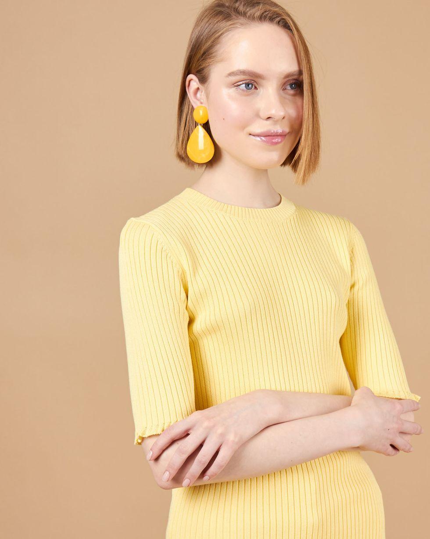 12Storeez Удлиненный джемпер с коротким рукавом (светло-желтый) ostin жаккардовый джемпер