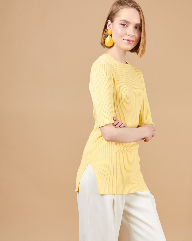Удлиненный джемпер с коротким рукавом SТопы и блузы<br><br><br>Артикул: 84412845<br>Размер: S<br>Цвет: Светло-желтый<br>Новинка: НЕТ<br>Наименование en: Short sleeve rib knit jumper