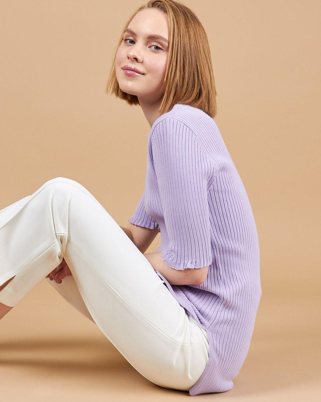 Удлиненный джемпер с коротким рукавом SТопы и блузы<br><br><br>Артикул: 84412846<br>Размер: S<br>Цвет: Сиреневый<br>Новинка: ДА<br>Наименование en: Short sleeve rib knit jumper