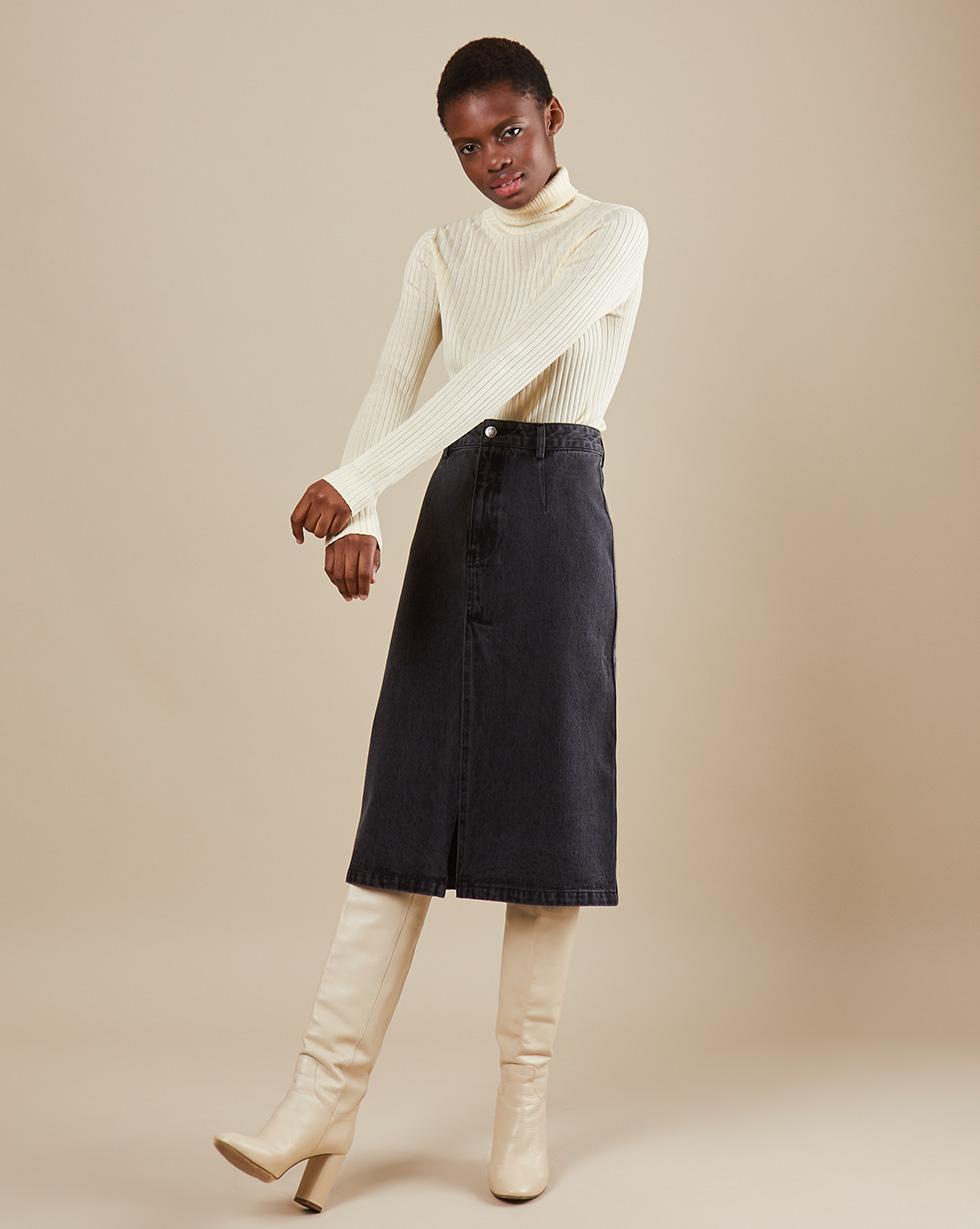 12Storeez Джинсовая юбка миди с разрезом (Темно-серый) недорго, оригинальная цена