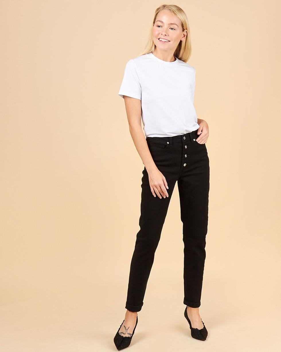 12Storeez Джинсы зауженные на пуговицах (черный) джинсы armani jeans джинсы зауженные