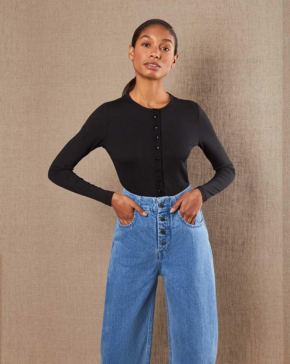 12Storeez Джинсы широкие на пуговицах (голубой) SS19 12storeez джинсы широкие на пуговицах темно синий