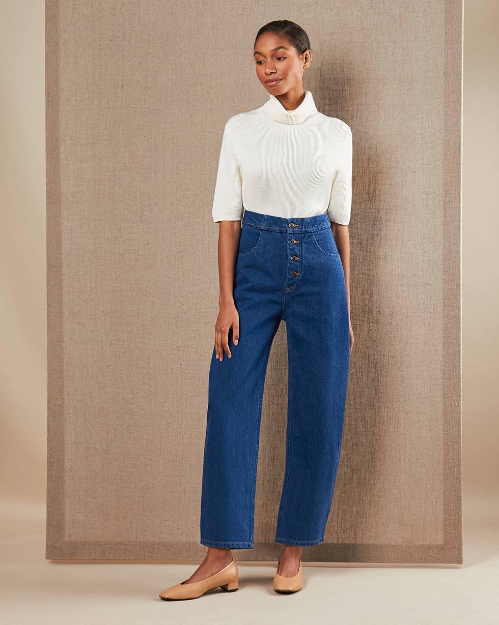 12Storeez Джинсы широкие на пуговицах (синий) SS19 12storeez джинсы широкие на пуговицах темно синий
