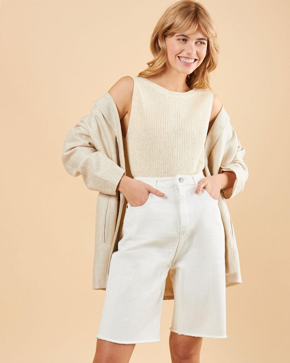 12Storeez Джинсовые шорты с необработанным краем (молочный) SS19