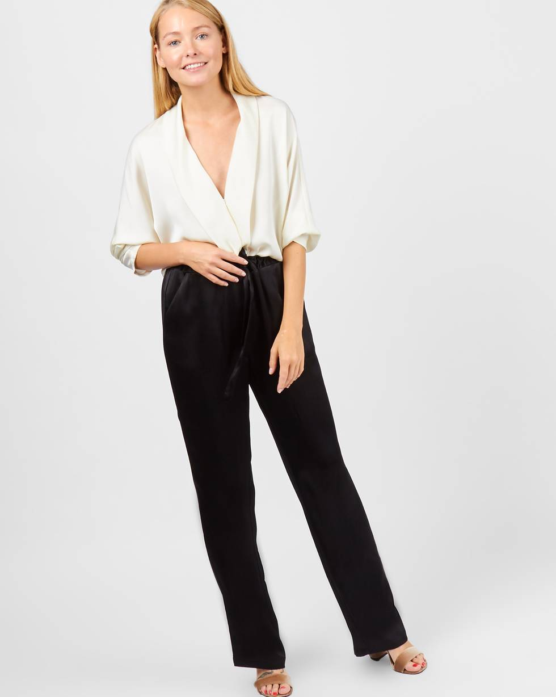 Брюки широкие в пижамном стиле XSБрюки<br><br><br>Артикул: 220810716<br>Размер: XS<br>Цвет: Черный<br>Новинка: ДА<br>Наименование en: Pyjama style wide leg trousers