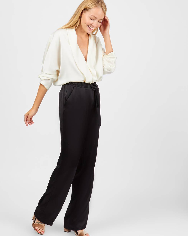 12Storeez Брюки широкие в пижамном стиле (вискоза-черный) брюки узкие с принтом из струящейся ткани