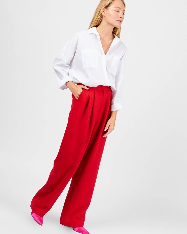 Брюки костюмные с защипами MБрюки и джинсы<br><br><br>Артикул: 220810797<br>Размер: M<br>Цвет: Красный<br>Новинка: НЕТ<br>Наименование en: High rise wool trousers
