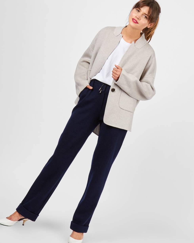 Брюки с манжетами SБрюки<br><br><br>Артикул: 220810860<br>Размер: S<br>Цвет: Темно-синий<br>Новинка: НЕТ<br>Наименование en: Wool blend wide-leg trousers