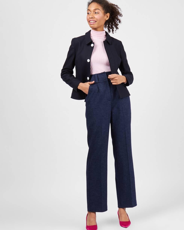 Брюки трикотажные с завышенной талией LБрюки и джинсы<br><br><br>Артикул: 220811130<br>Размер: L<br>Цвет: Темно-синий<br>Новинка: ДА<br>Наименование en: High-waist wool trousers