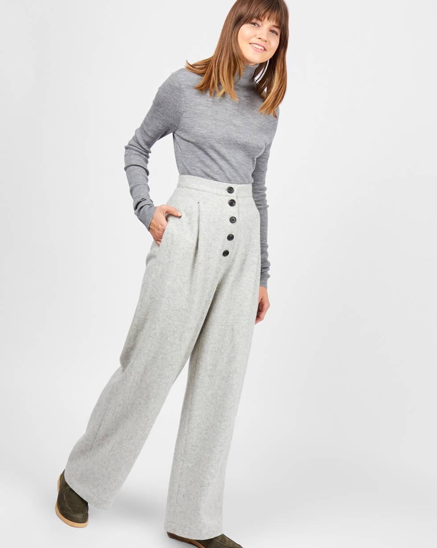 12Storeez Брюки широкие с завышенной талией (серый) брюки с завышенной талией и поясом и складками