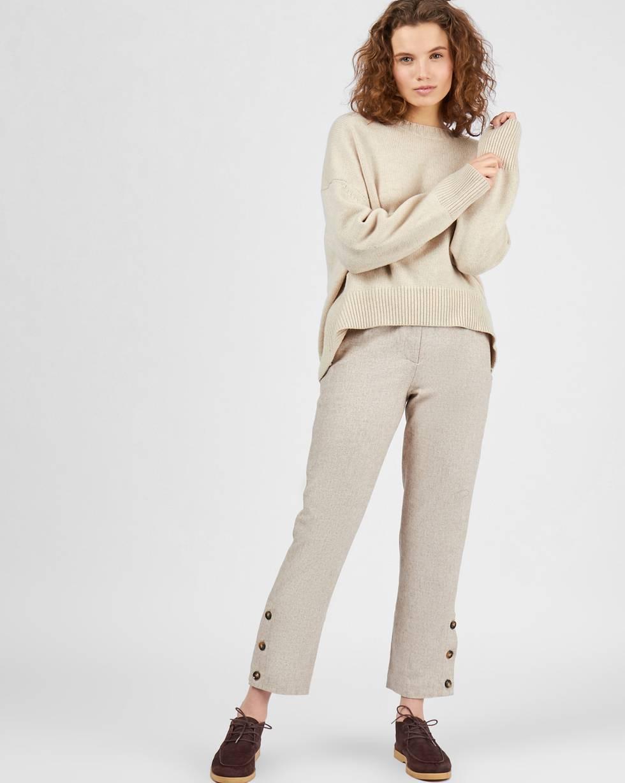Брюки с пуговицами сбоку SБрюки<br><br><br>Артикул: 220811899<br>Размер: S<br>Цвет: Кофе с молоком<br>Новинка: НЕТ<br>Наименование en: Button detail wool trousers
