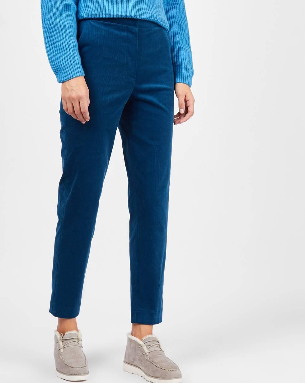 Брюки укороченные с клапанами из вельвета SБрюки и джинсы<br><br><br>Артикул: 220811905<br>Размер: S<br>Цвет: Бирюзовый<br>Новинка: ДА<br>Наименование en: Cropped corduroy trousers