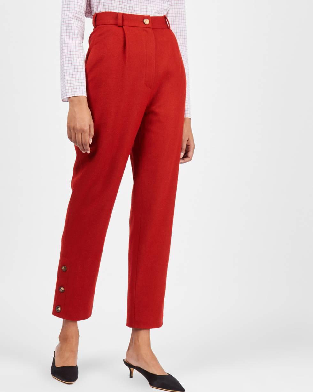 Брюки с пуговицами сбоку SБрюки и джинсы<br><br><br>Артикул: 220811917<br>Размер: S<br>Цвет: Терракотовый<br>Новинка: ДА<br>Наименование en: Button detail wool trousers