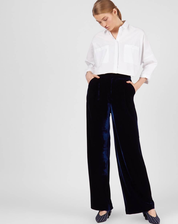 12Storeez Брюки широкие из бархата (темно-синий) 12storeez блуза с бантом в горох черная