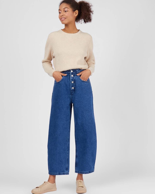 Джинсы широкие на пуговицах  SБрюки и джинсы<br><br><br>Артикул: 220812363<br>Размер: S<br>Цвет: Синий<br>Новинка: НЕТ<br>Наименование en: Wide-leg button-fly jeans