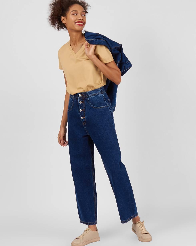 12Storeez Джинсы широкие на пуговицах (темно-синий) джинсы женские oodji ultra цвет темно синий джинс 12103156 46787 7900w размер 29 32 48 32