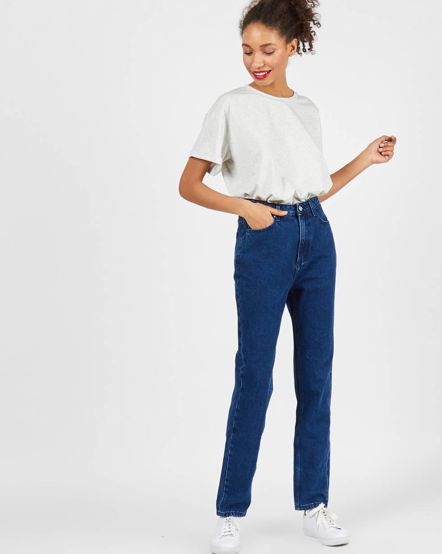 Джинсы свободные с высокой посадкой  SБрюки<br><br><br>Артикул: 220812369<br>Размер: S<br>Цвет: Темно-синий<br>Новинка: НЕТ<br>Наименование en: High waist relaxed fit jeans