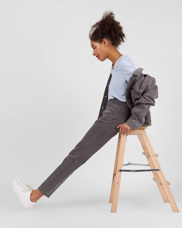 Джинсы свободные с высокой посадкой LБрюки<br><br><br>Артикул: 220812370<br>Размер: L<br>Цвет: Серый<br>Новинка: НЕТ<br>Наименование en: High waist relaxed fit jeans