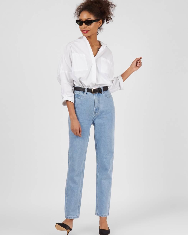 Джинсы свободные с высокой посадкой  SБрюки<br><br><br>Артикул: 220812371<br>Размер: S<br>Цвет: Голубой<br>Новинка: НЕТ<br>Наименование en: High waist relaxed fit jeans