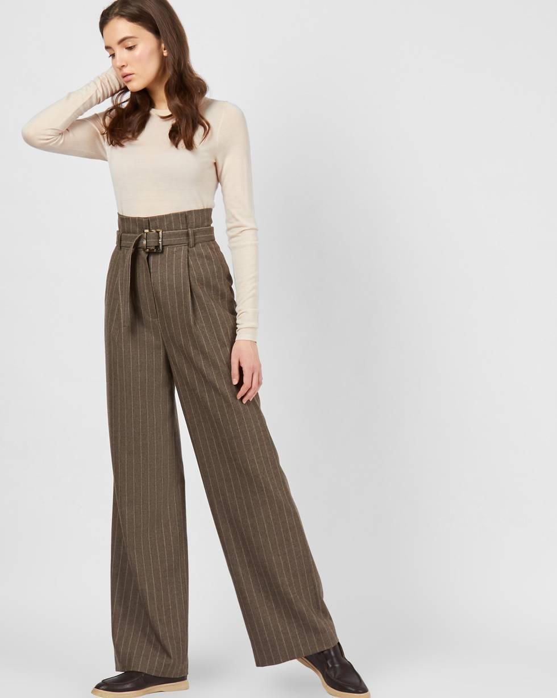 12Storeez Брюки широкие с завышенной талией в полоску (коричневый) брюки с завышенной талией и поясом и складками