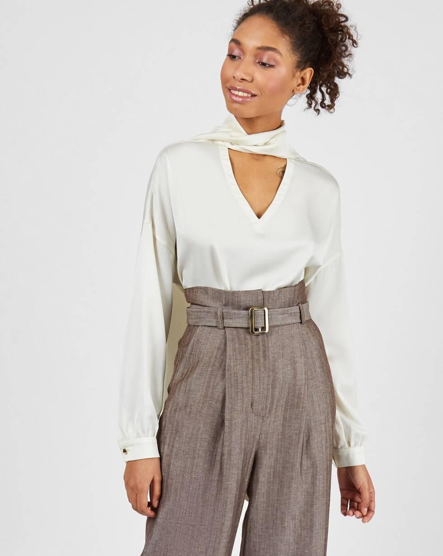 12Storeez Брюки широкие с завышенной талией (коричневый в елочку) 12storeez блуза с бантом в горох черная