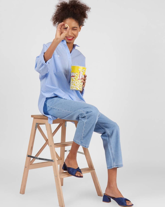 12Storeez Джинсы широкие укороченные (голубой) 12storeez джинсы широкие укороченные синий