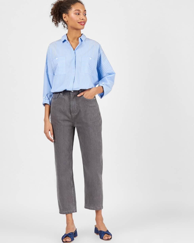 Джинсы широкие укороченные SБрюки<br><br><br>Артикул: 220812796<br>Размер: S<br>Цвет: Серый<br>Новинка: НЕТ<br>Наименование en: Cropped wide-leg jeans