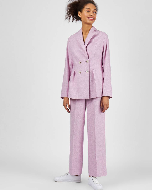 Брюки широкие с защипами из облегченной шерсти XSБрюки<br><br><br>Артикул: 220813158<br>Размер: XS<br>Цвет: Сиреневый<br>Новинка: НЕТ<br>Наименование en: High waist wool blend trousers