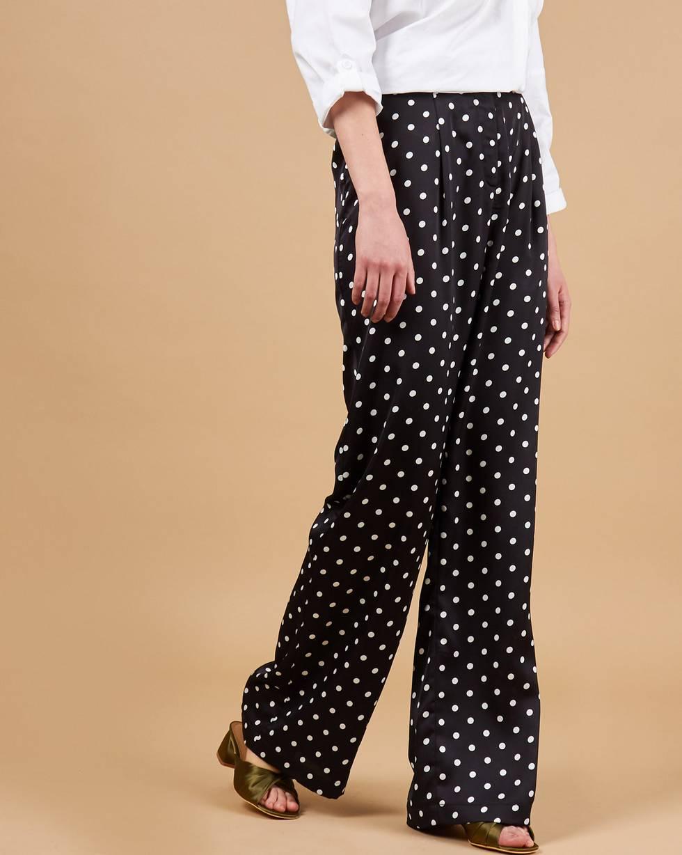 12Storeez Брюки свободные в пижамном стиле (черный)