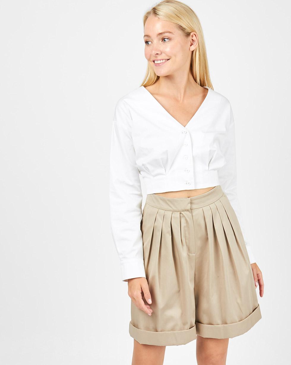 12Storeez Шорты широкие со складками (бежевый) шорты